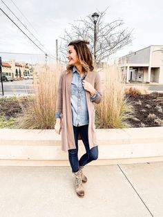Casual outfit for winter #justpostedblog #ShopStyle #shopthelook #MyShopStyle #OOTD #winteroutfit #LooksChallenge #ContributingEditor #Winter #Lifestyle Chambray Shirt Outfits, Chambray Dress, Denim Shirts, Shirt Over Dress, Professional Wear, Layered Fashion, Business Casual Outfits, Fall Winter Outfits, Winter Style