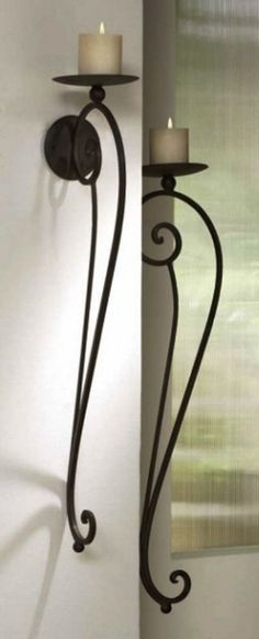 "Large TUSCAN S/2 Scrolled Wrought Iron WALL CANDLE HOLDER SCONCE Pair 34""L"