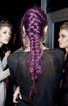 Deep purple haircolour with long braid