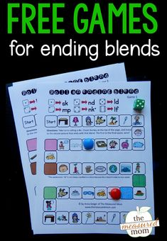 Kids love these games for ending blends! They only take a few minutes to play, and kids actually ask to play them again. No prep activities are the best! #firstgrade #blends #phonics #phonicsgames