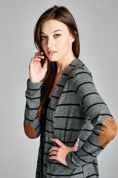 Charcoal Stripe Suede Elbow Patch Cardigan Made in USA 96% Polyester, 4% Spandex You know what makes this cardigan so great? Loose fit, long sleeves, open closure cardigan. Has wide band down at front