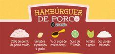 Receita ilustrada de Hambúrguer de porco. Muito saboroso e simples de preparar. Ingredientes: Pernil do Porco, gengibre, molho shoyu, suco de limão, hortelã e sal grosso.