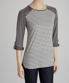 Look what I found on #zulily! Gray & Ivory Stripe Raglan Top by Faith and Joy #zulilyfinds