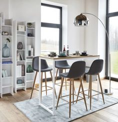 Tavolo alto in metallo bianco cm Igloo High Table Kitchen, Bar Dining Table, Small Kitchen Tables, Small Space Kitchen, Pub Table Sets, Small Dining, Small Space Living, Small Spaces, High Table And Chairs