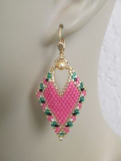 Your place to buy and sell all things handmade Beaded Earrings Native, Bead Earrings, Beaded Jewelry Patterns, Beading Patterns, Hibiscus Rose, Brick Stitch Earrings, Craft Accessories, Seed Bead Jewelry, Beads And Wire
