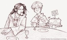 Fine Dining at Grimmauld Place - Sirius and Remus by =Javadoodle on deviantART