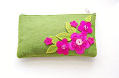 Embroidered Floral Pouch by SewSweetStitches on Etsy, $35.00