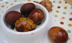 Eggs dyed with onion skins