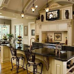 Beautiful kitchen design shared by garden_of_make_believe #kitchen #grand #architecture #moulding #trim #woodwork #arch #details…
