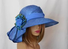 Sonya, Kentucky Derby hat, beautiful straw hat with draped pleating on the side, millinery hat, Teal embellishment