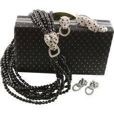 Fabulous Kenneth Jay Lane Complete Cougar Purse, Necklace, Earrings & Brooch.