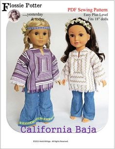 Flossie Potter California Baja Doll Clothes Pattern 18 inch American Girl Dolls | Pixie Faire
