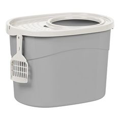 IRIS Top Entry Cat Litter Box with Scoop Gray and White