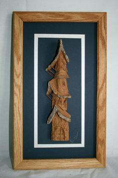 Framed Cottonwood Bark Carving Cottonwood by antlerhollowcarvings, $75.00