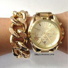 Chunky Chain Bracelet & Gold Michael Kors Watch