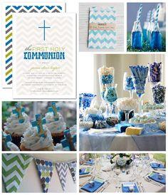 First communion blue white grey