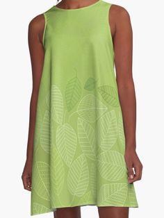 LEAVES ENSEMBLE GREENERY von Pia Schneider. Also buy this artwork on apparel, stickers, phone cases und more.  #kleider #grafikdesign #grün #blätter #naturdesign #piaschneider #redbubble #kunst #design #fashion #women #mode #dresses