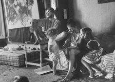 Beatnik artist Arthur Richer sitting with his family, LA, CA, 1959; Photographer:Allan Grant