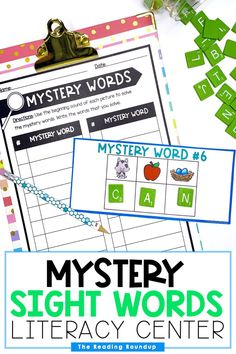 Are you looking for new and fun sight word activities? This printable and digital literacy center is an engaging way for students to practice identifying beginning sounds and spelling sight words. Kindergarten and first grade students will love solving these mystery sight words. Teachers can differentiate the activity by providing the FREE alphabet chart for students to use as a reference during the activity. #thereadingroundup #sightwords #kindergarten #firstgrade Preschool Sight Words, Dolch Sight Words, Sight Word Activities, Alphabet Activities, Hands On Activities, Initial Sounds, Letter Sounds, Teaching Reading, Learning