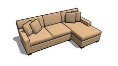 3D Model of Axis Sofa - Crate and Barrel