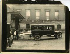 """Taking patient from ambulance"" at Boston City Hospital, November 11, 1928. Boston City Hospital collection (7020.001) Via cityofbostonarchives. MediaMed : Photo."