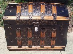 restored humpback dome top antique victorian era trunk for sale #505