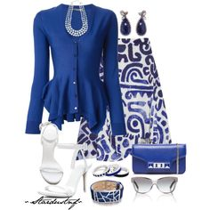 """""""Fabulous in Blue & White"""" by stardustnf on Polyvore"""