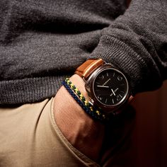 Radiomir Panerai watch. woven bracelets, grey sweater, khaki pants, loving the whole situation.