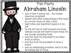 This part of myPresidents' Day Close Read Unit . It is closely aligned to the Common Core State Standards for Informational Text. Included is a biography of Abraham Lincoln, text dependent questions, and a Jfk And Abraham Lincoln, Abraham Lincoln Costume, Abraham Lincoln Biography, Facts For Kids, Fun Facts, Biography Project, Presidents Day, American Presidents, Preschool Activities