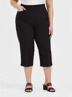 Wide-Leg Black Structured Woven Culotte Trouser in Black Culotte Pants, Trousers, Black Skinnies, Black Pants, Paperbag Pants, Pixie Pants, Wide Leg Cropped Pants, Plus Size Pants, Curvy Women Fashion