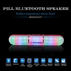Product DescriptionJHW-V318 Stereo Bluetooth Speaker with Colorful LED Support TF Card / Aux-input / FM - Black•Fashionable outlook, portable design•Stream music wirelessly from Bluetooth-enabled device•Stereo speaker, excellent sound quality•Built-in microphone for hands-free talking enjoyment•Support playing music directly from TF Card (not included)•Aux-input allows connection with non-Bluetooth device via audio cable•Support FM radio function•Colorful LED bri...