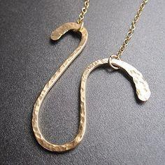 Necklace 204 Hammered heavy gauge swirl shape by CalicoJunoJewelry, $98.00