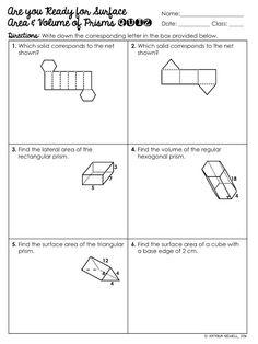 FREE Surface Area & Volume of Triangular Prisms Worksheet ...