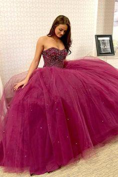 Elegant Strapless Tulle Long Prom Dresses | sweetdressy Prom Dress Stores, Prom Dresses 2018, Ball Gowns Prom, Prom Party Dresses, Ball Dresses, Graduation Dresses, Dresses Uk, Glamour Dresses, Teen Dresses