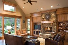 Built In Tv Cabinet, Craftsman Style House Plans, Craftsman Decor, Craftsman Interior, Craftsman Built In, Craftsman Living Rooms, Craftsman Remodel, Rustic Fireplaces, Lodge Style