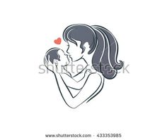 Mother and Baby Logo - Treasure The Moment Symbol - stock vector