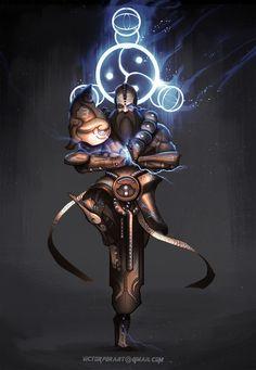 Diablo 3 Monk sci-fi, Victor Fernández on ArtStation at https://www.artstation.com/artwork/diablo-3-monk-sci-fi