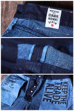 R Estilo Denim, Good Genes, Japanese Denim, Denim Branding, Denim Style, Denim Outfit, Metal Buttons, Colored Jeans, Denim Fashion