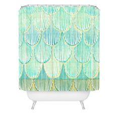 Cori Dantini Turquoise Scallops Shower Curtain   DENY Designs Home Accessories