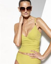 1e53512af44c6 SHAPE FX Two Piece Shirred Tankini Control Swimsuit Citrus or Black - AU  $79.00 Now on