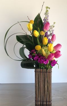 Lily grass loops with tulips and sweet william