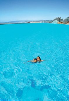 World's largest outdoor pool  The Crystal Lagoon, located at the San Alfonso del Mar resort in Algarrobo, Chile, is the world's largest outdoor pool, stretching more than half of a mile and filled with 66 million gallons of water.