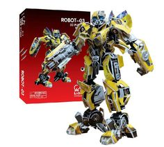 Newest hot sale 3D paper model children educational toy robot yellow Bumblebee 3D puzzle