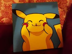 I made this pikachu painting with acrylics! Simple Canvas Paintings, Small Canvas Art, Mini Canvas Art, Small Paintings, Diy Canvas, Pokemon Painting, Cartoon Painting, Diy Painting, Painting & Drawing