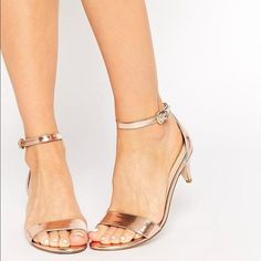 Discover block heeled sandals at ASOS. From ankle strap, t strap and high heel sandals to kitten heel sandals. Find your next pair of shoes at ASOS today. Gold Kitten Heels, Kitten Heel Sandals, Low Heel Sandals, Low Heel Shoes, Gold Sandals, Shoes Heels, Asos Shoes, Gold Heels, Gold Wedding Shoes
