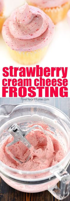 Strawberry Cream Cheese Frosting ~ thick, silky, and bursting with strawberry flavor thanks to a special ingredient...crushed, freeze-dried strawberries! | FiveHeartHome.com