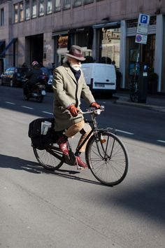 cold weather biker in polka dot socks