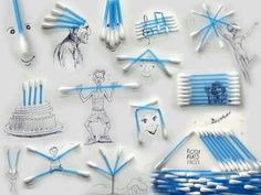 Victor Nunes: An Incredible Man Turns Everyday Objects Into Creative Illustrations Q Tip Art, Object Drawing, Art En Ligne, Creative Illustration, 3d Illustrations, Art Graphique, Everyday Objects, Art Classroom, Art Plastique