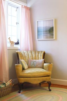Pink is just such a happy color.  I love the feel these curtians give this room.