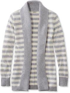 Classic Cashmere Sweater, Open Cardigan Stripe